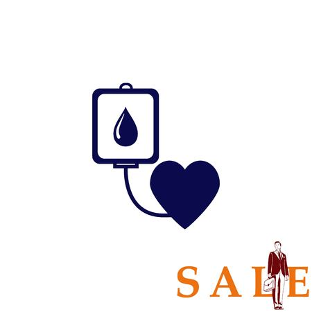 medical laboratory: Blood donation icon, vector illustration. Flat design style. The container transfusion icon.