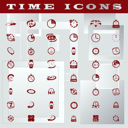 customer support: Clock Icons set, vector illustration. Flat design style.