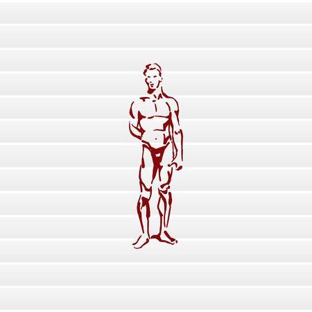 Silhouette d'hommes athlétiques. Beauté, glamour. Illustration vectorielle Bel athlète masculin.