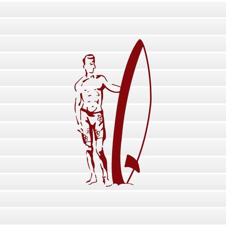 Un homme avec une planche de surf. Illustration vectorielle Logo, icône