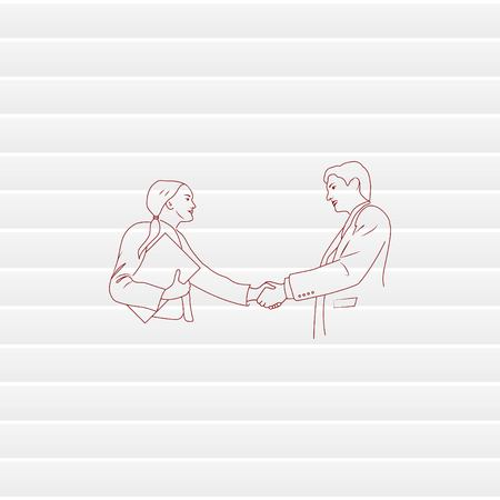 Business meeting. Discussion of business strategy. Handshake. Businessman ponders a strategic plan, tactical solutions. Vector illustration. Illustration