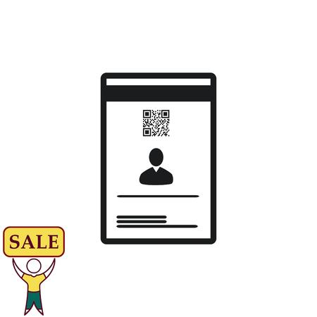 Document determining identity icon. Flat Vector illustration
