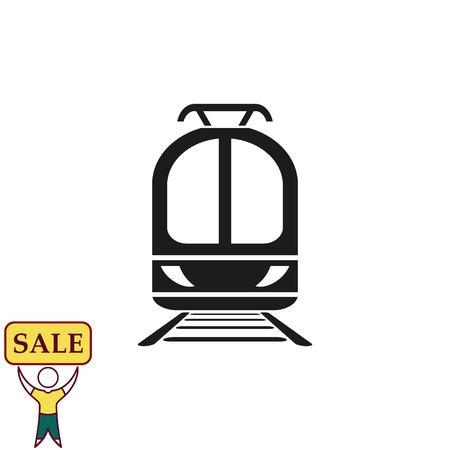 Passagierstrein, metro, Metro, openbaar vervoerpictogram, vectorillustratie. Platte ontwerpstijl Stock Illustratie
