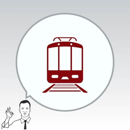 Passagierstrein, metro, Metro, pictogram openbaar vervoer, vector illustratie. Platte design stijl