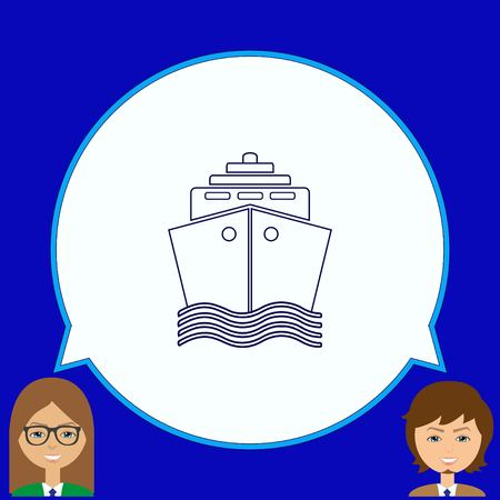 dinghy: Ship icon, vector illustration. Flat design style.