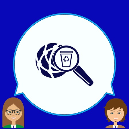 to warn: Place trash icon, recycle icon. Flat Vector illustration