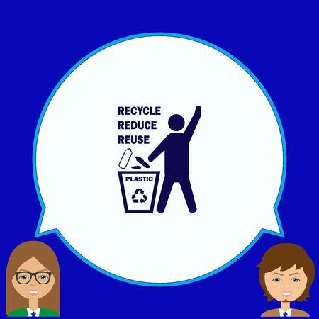 Gooi het prullenbakpictogram weg en recycle het pictogram Vector Illustratie