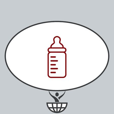 baby and mother: Baby bottle icon, vector illustration. Flat design style