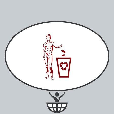 stop hand silhouette: Place trash icon, recycle icon. Flat Vector illustration