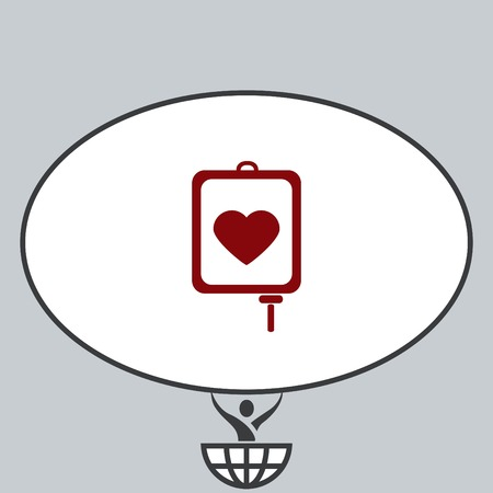 give: Blood donation icon, vector illustration. Flat design style. The container transfusion icon.