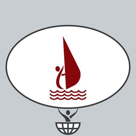 running: Sport icon , Sailing, yacht.  vector illustration. Flat design style Illustration