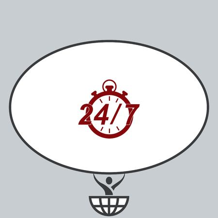 24: Open 24 7 icon with clock Illustration