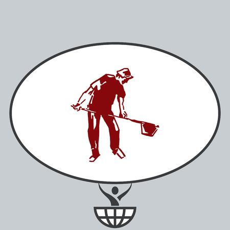 A man with a shovel. Silhouette of men. Vector illustration. Handsome man.