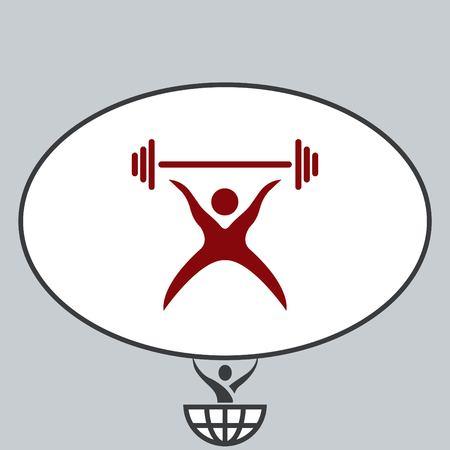 running: Sport icon , vector illustration. Flat design style. Weightlifter.