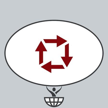 designator: Arrow indicates the direction  icon, vector illustration. Flat design style