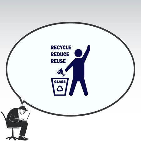 stop hand silhouette: Throw away the trash icon, recycle icon Illustration