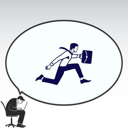 running: running businessman. Vector illustration.
