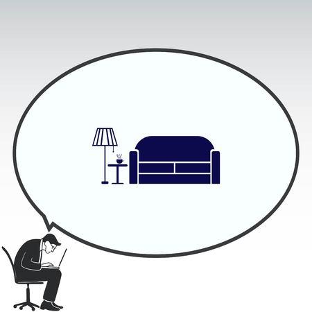 furniture: Home interior design icon, sofa icon, living room, vector illustration. Flat design style.