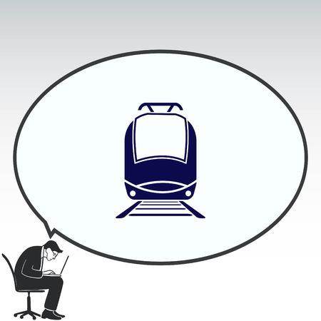 means of transport: Passenger train, subway, Metro, public transport  icon, vector illustration. Flat design style