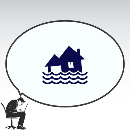 disaster: Flood icon. disaster. Typhoon. Tornado. The house is in the water. City water, vector illustration. Flat design style. Illustration
