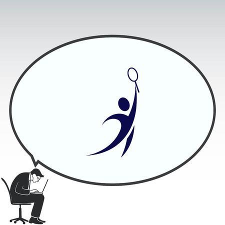 running: Sport icon , tennis, vector illustration. Flat design style Illustration