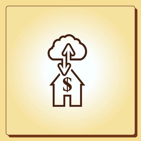wages: Financial Services Cloud, Money icon, Finance Icon, vector illustration. Flat design style