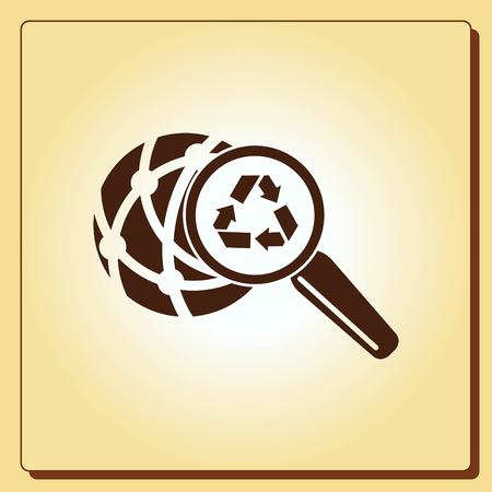 protect: Place trash icon, recycle icon. Flat Vector illustration