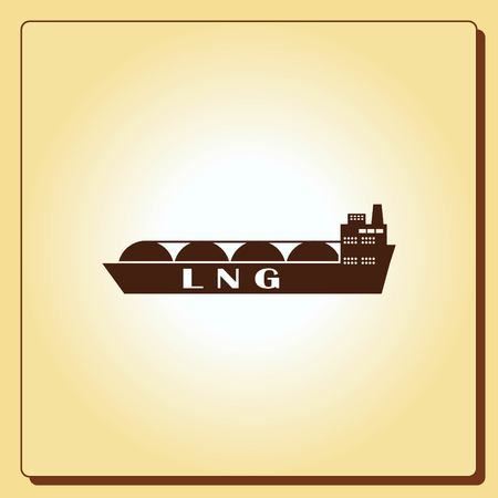 shipments: Ship icon, LNG gas carrier, vector illustration. Flat design style.