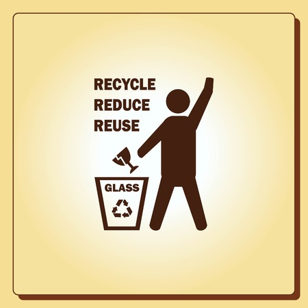 protect: Throw away the trash icon, recycle icon Illustration