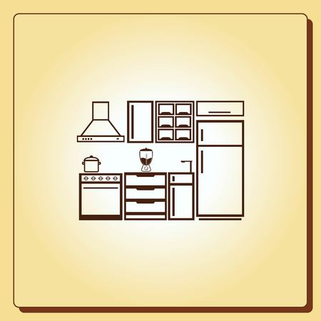 Home Interior Design Icon, Kitchen Icon, Dining Icon, Vector Illustration.  Flat Design Part 72