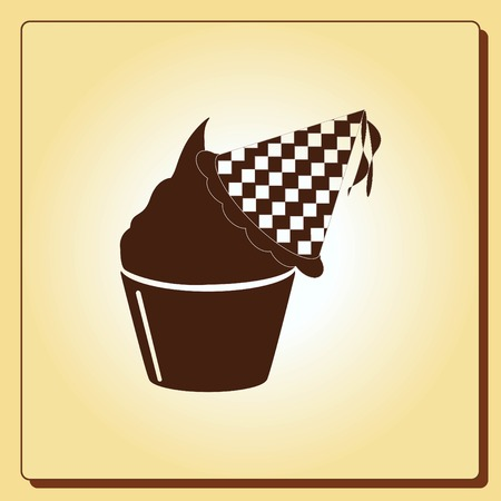 biscuits: Birthday cake icon, vector illustration