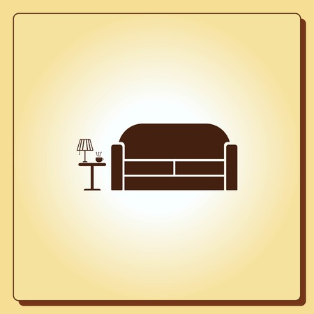 study: Home interior design icon, sofa icon, living room, vector illustration. Flat design style.