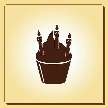 birthday party: Birthday cake icon, vector illustration