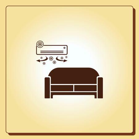 illuminate: Home interior design icon, sofa icon, living room, vector illustration. Flat design style.