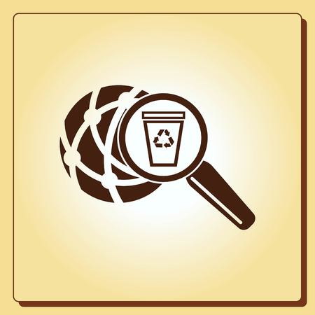 pail: Place trash icon, recycle icon. Flat Vector illustration