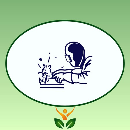 Silhouette of a working welding with a torch icon. Vector illustration. Ilustrace