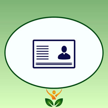 guests: Document determining identity icon. Flat Vector illustration