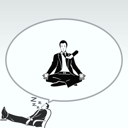 A man in a suit sitting meditating. Businessman relaxes. Vector illustration.