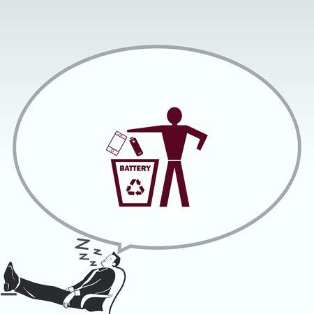pail: Throw away the trash icon, recycle icon Illustration