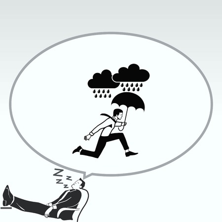 overcast: Dripping rain. Overcast. A man with an umbrella. Rain clouds. running businessman. Vector illustration. Illustration