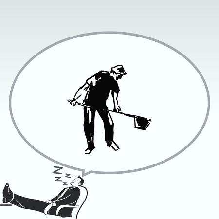 Un homme avec une pelle. Silhouette des hommes. Vector illustration. Bel homme.