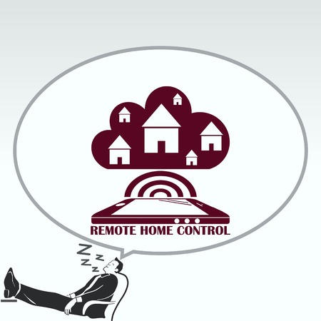 effectiveness: Smart home in the cloud concept symbol vector illustration