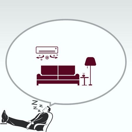 modern interior: Home interior design icon, sofa icon, living room, vector illustration. Flat design style.