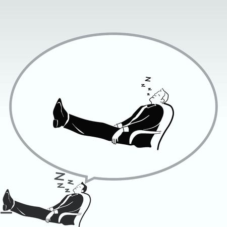 laid: Businessman is sleeping in a chair. The man in his business suit laid his feet on the table. The clerk is relaxing. The official is asleep at work. Illustration