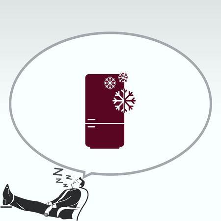 modern interior: Home appliances icon. Refrigerator icon. Vector illustration. Kitchenware. Illustration