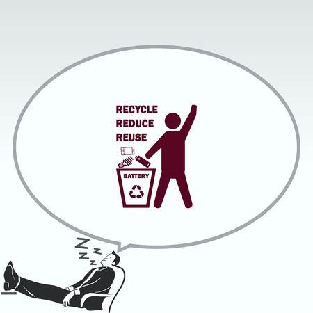 Throw away the trash icon, recycle icon Çizim