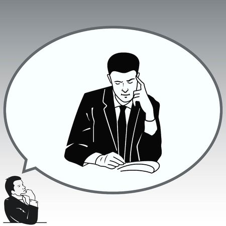 Businessman ponders a strategic plan, tactical solutions. A man in a suit sitting at a desk. Businessman attentive focused. Vector illustration.
