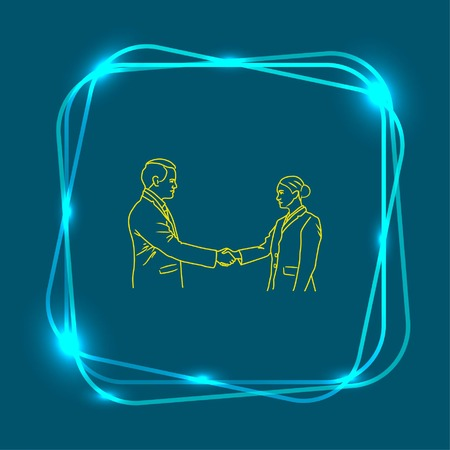 tactical: Business meeting. Discussion of business strategy. Handshake. Businessman ponders a strategic plan, tactical solutions. Vector illustration. Illustration