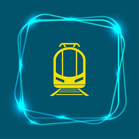 electric train: Passenger train, subway, metro, public transport  icon,. Flat design style