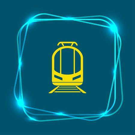 Passenger train, subway, metro, public transport  icon,. Flat design style